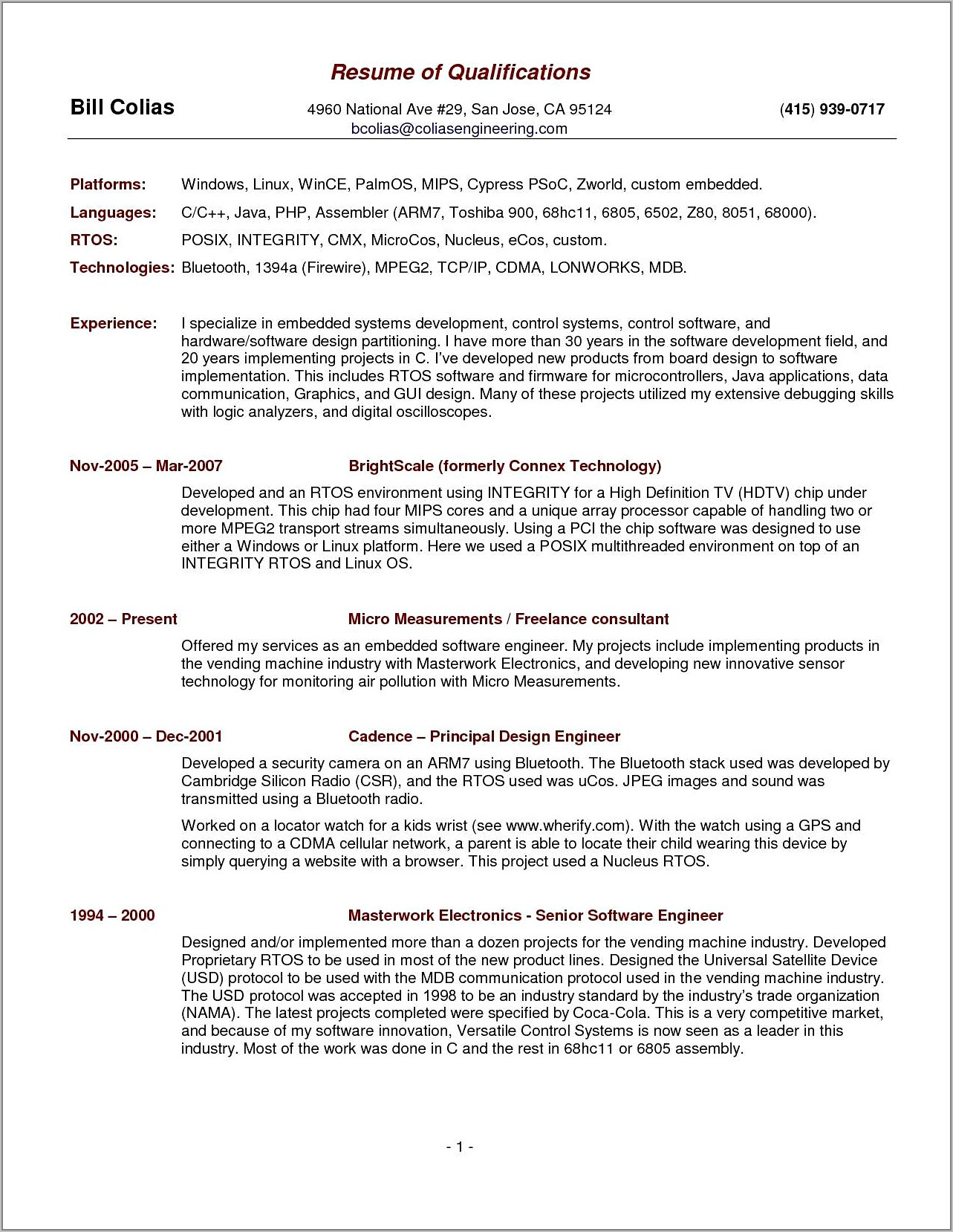 Sample Fillable Resume Template