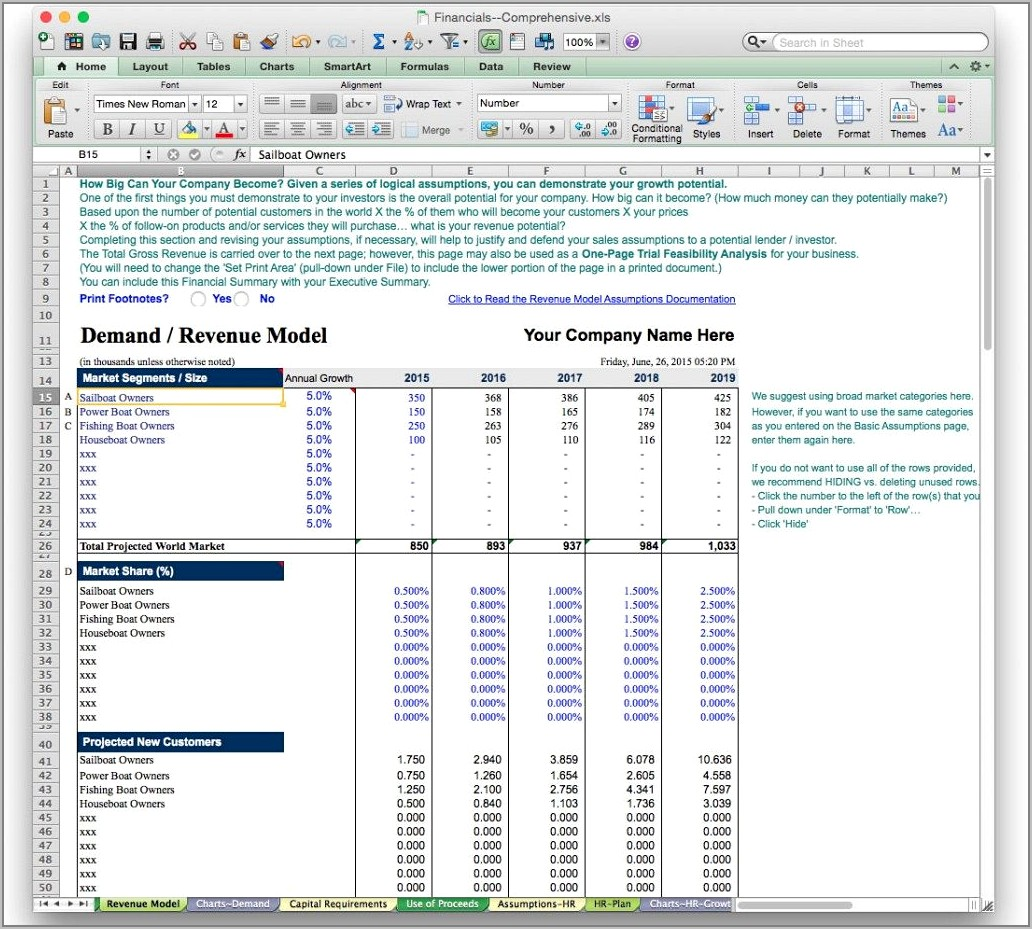 Sample For Financial Projections