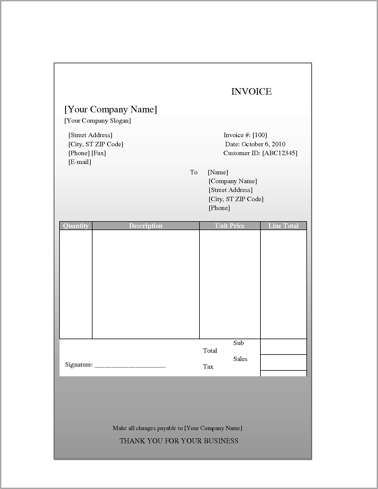 Sample Invoices Templates For Word