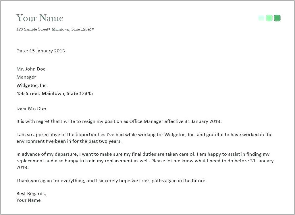 Sample Job Resignation Letter With Notice Period