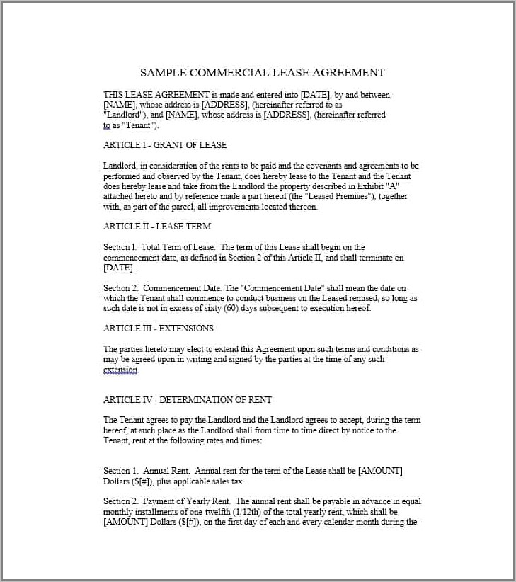 Sample Lease Agreements For Landlords