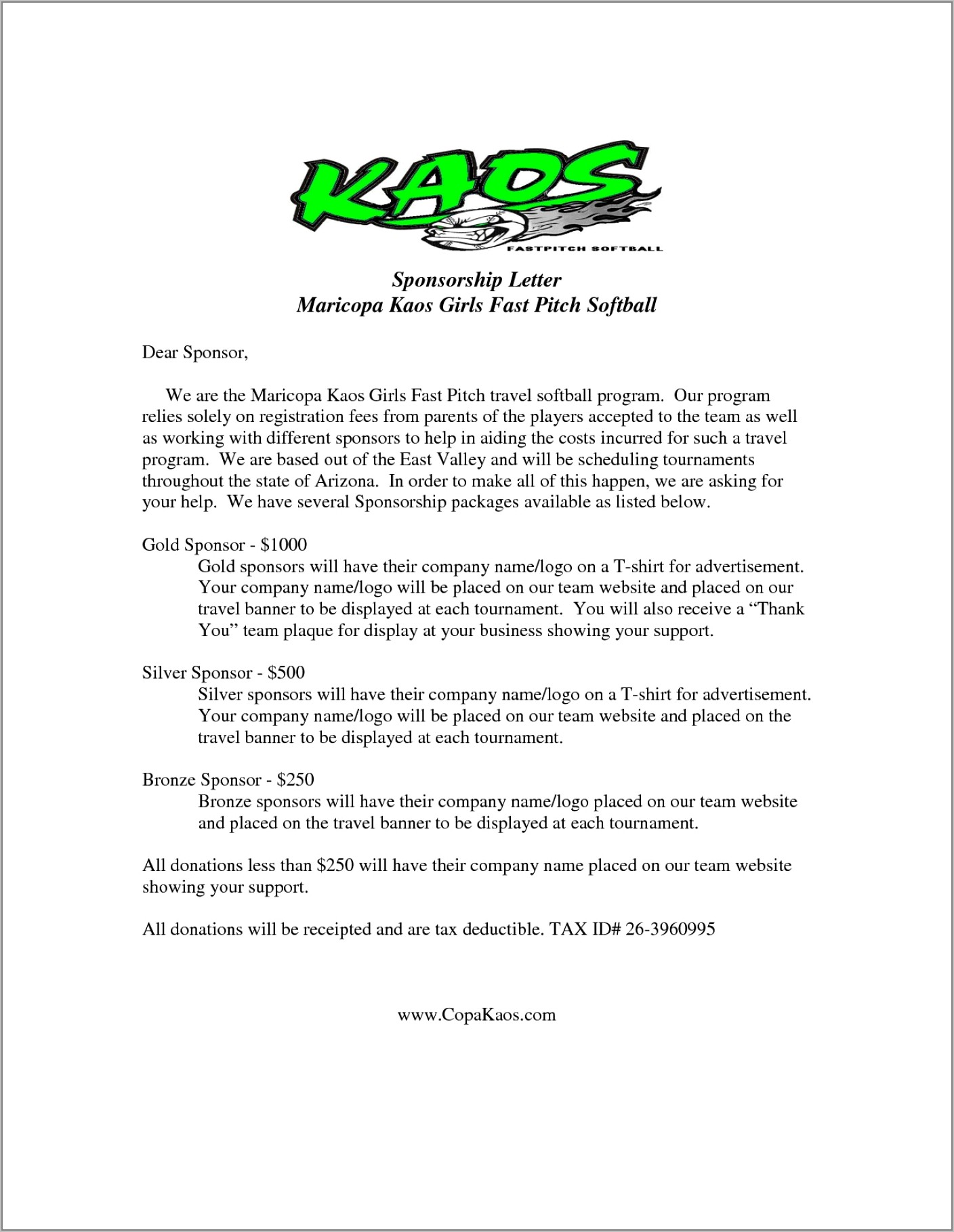 Sample Letter For Requesting Fundraising