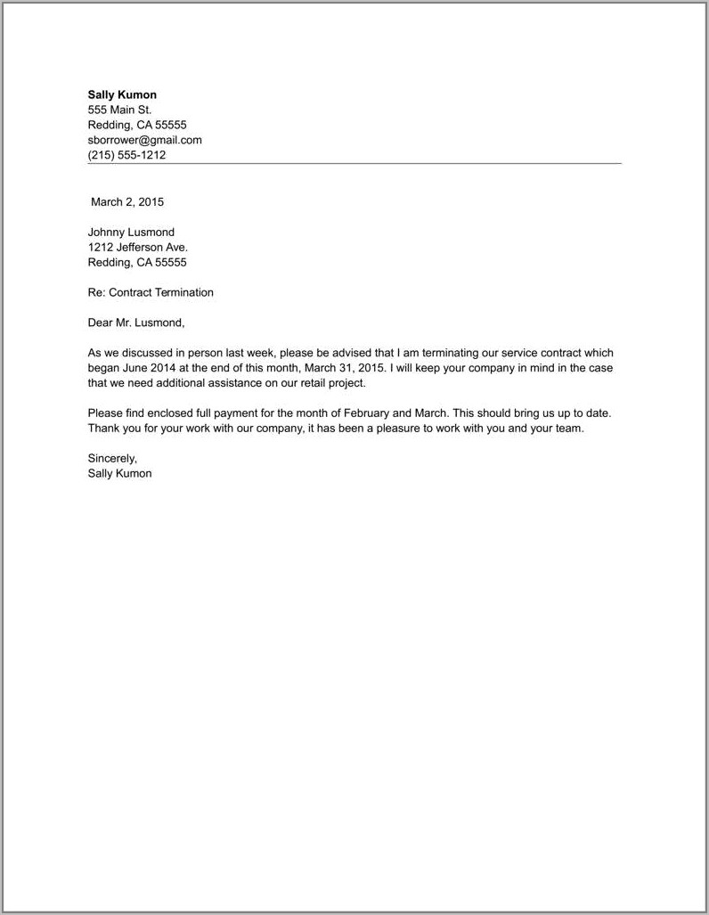 Sample Letter Of Lease Contract Termination