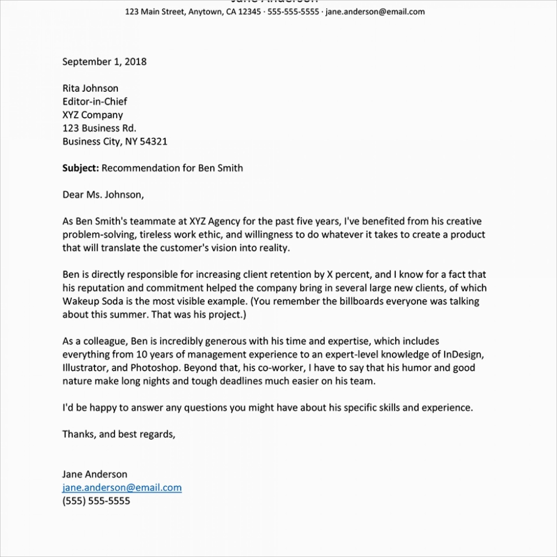 Sample Letter Of Recommendation For Coworker Template