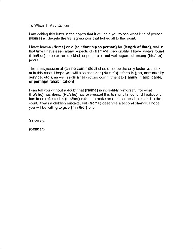 Sample Letter Of Recommendation For Dui