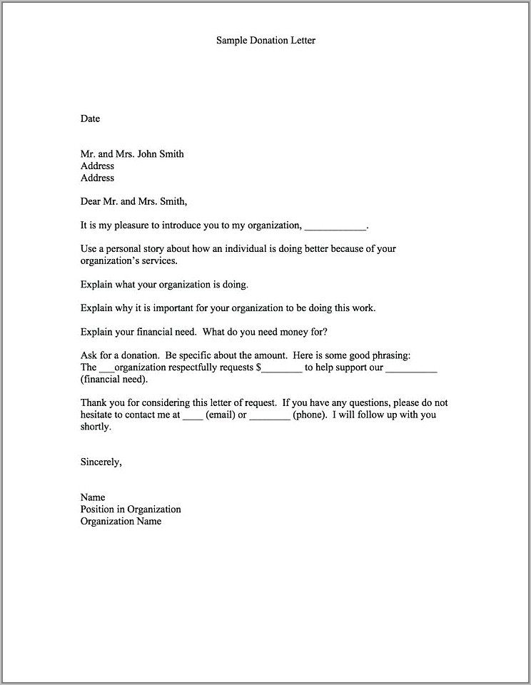 Sample Letter Requesting Fundraiser Donations