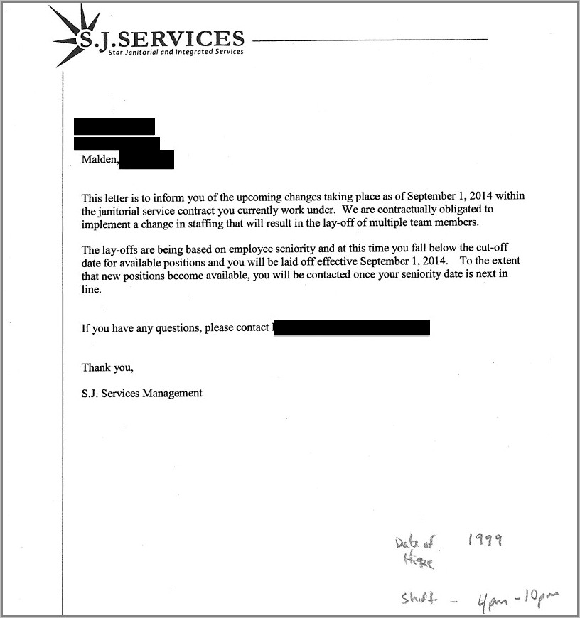Sample Letter Termination Of Contract Employee