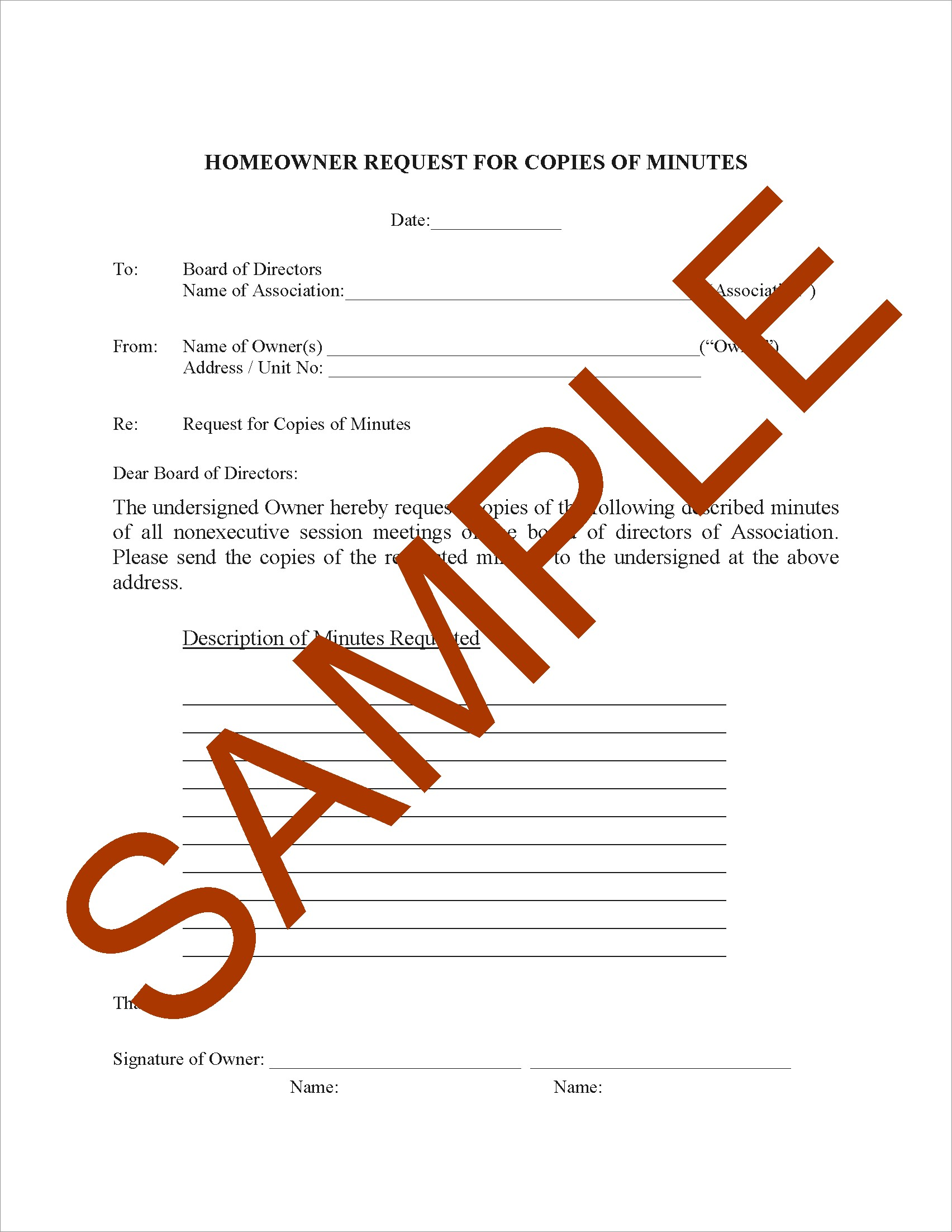 Sample Letter To Hoa Requesting Repairs