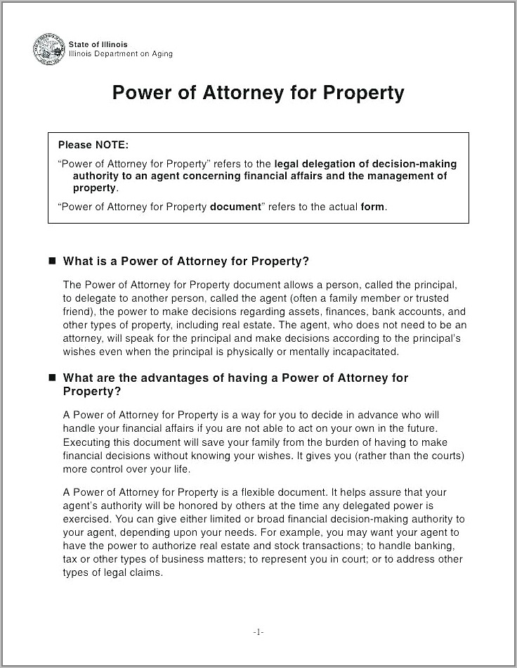 Sample Of Power Of Attorney For Property