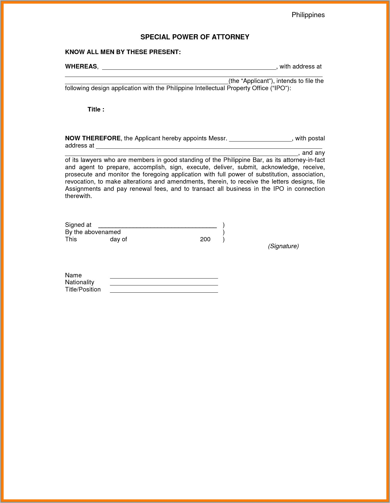 Sample Of Special Power Of Attorney Letter