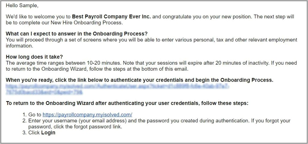 Sample Onboarding Email For New Employees