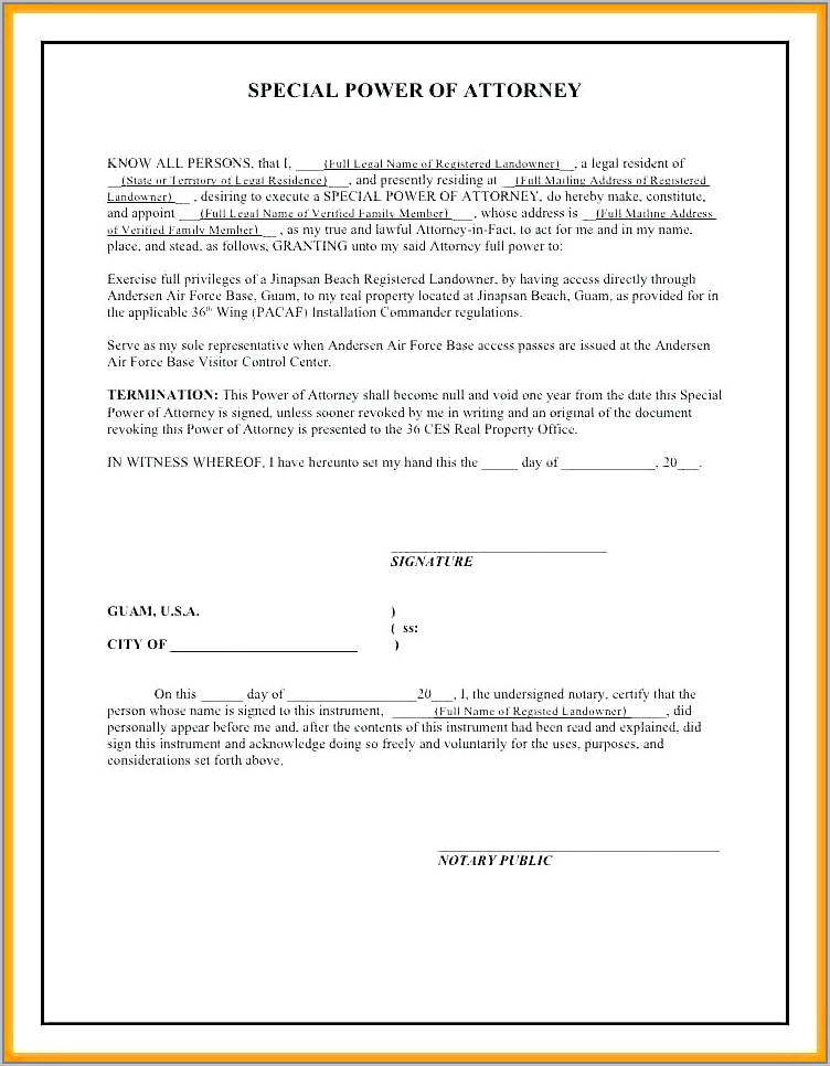 Sample Power Of Attorney Form For Property