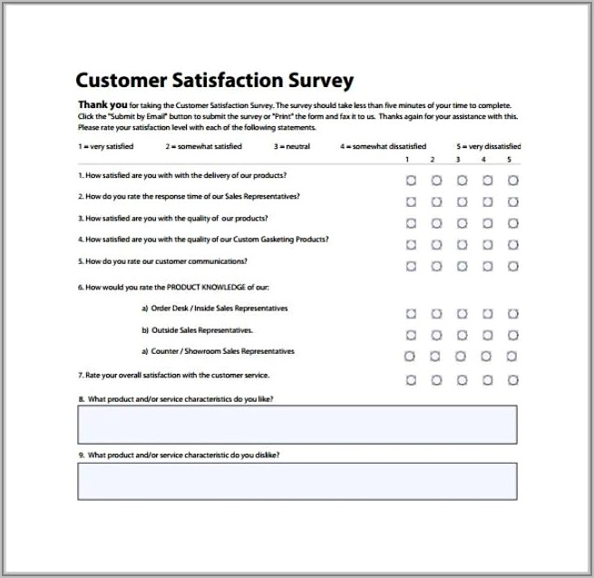 Sample Questions For Customer Satisfaction Survey