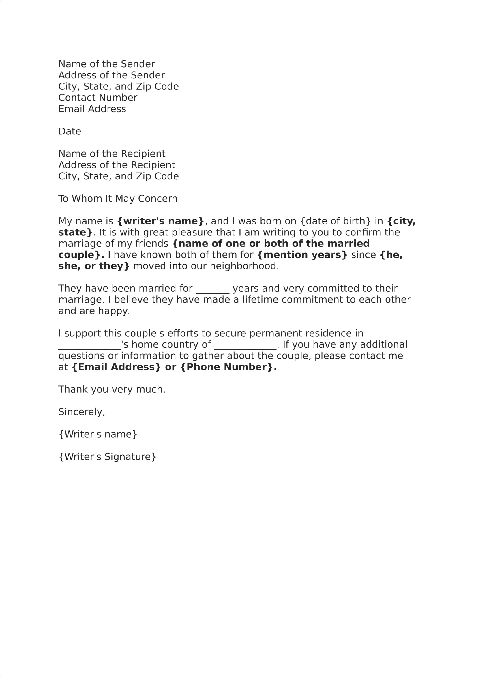 Sample Reference Letter For Immigration Marriage