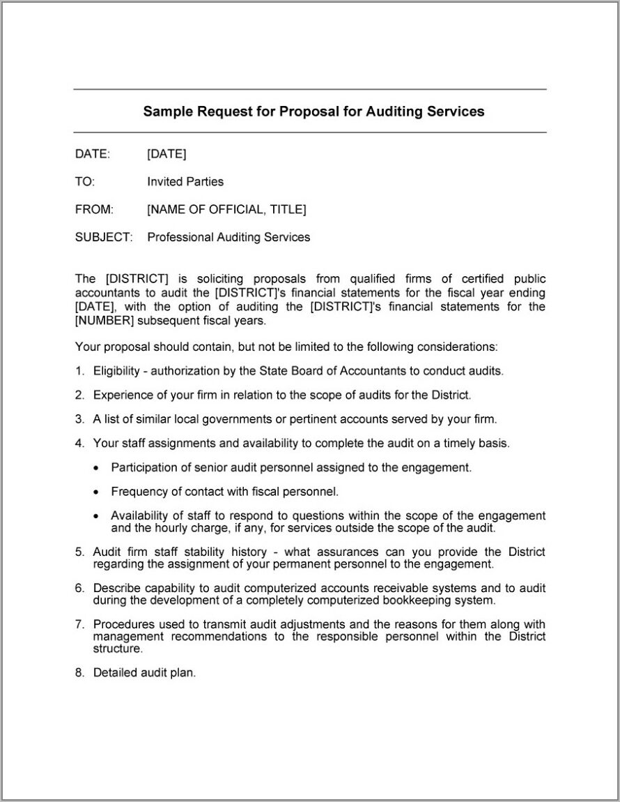 Sample Request For Proposal Template