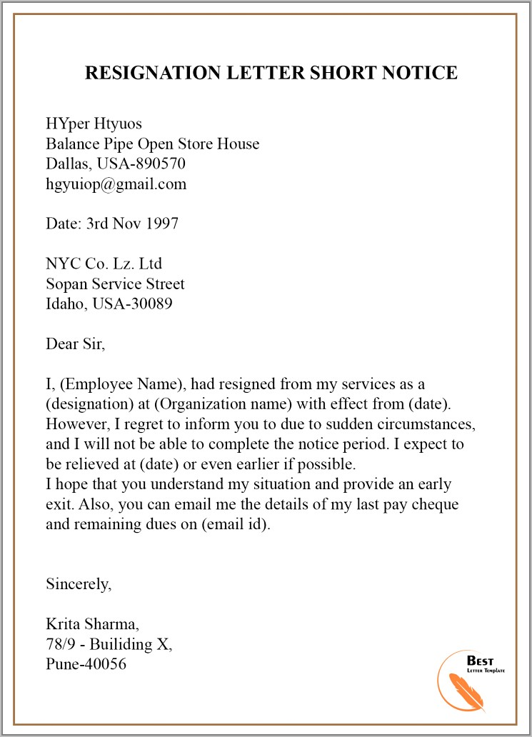 Sample Resignation Letter Without Notice Period