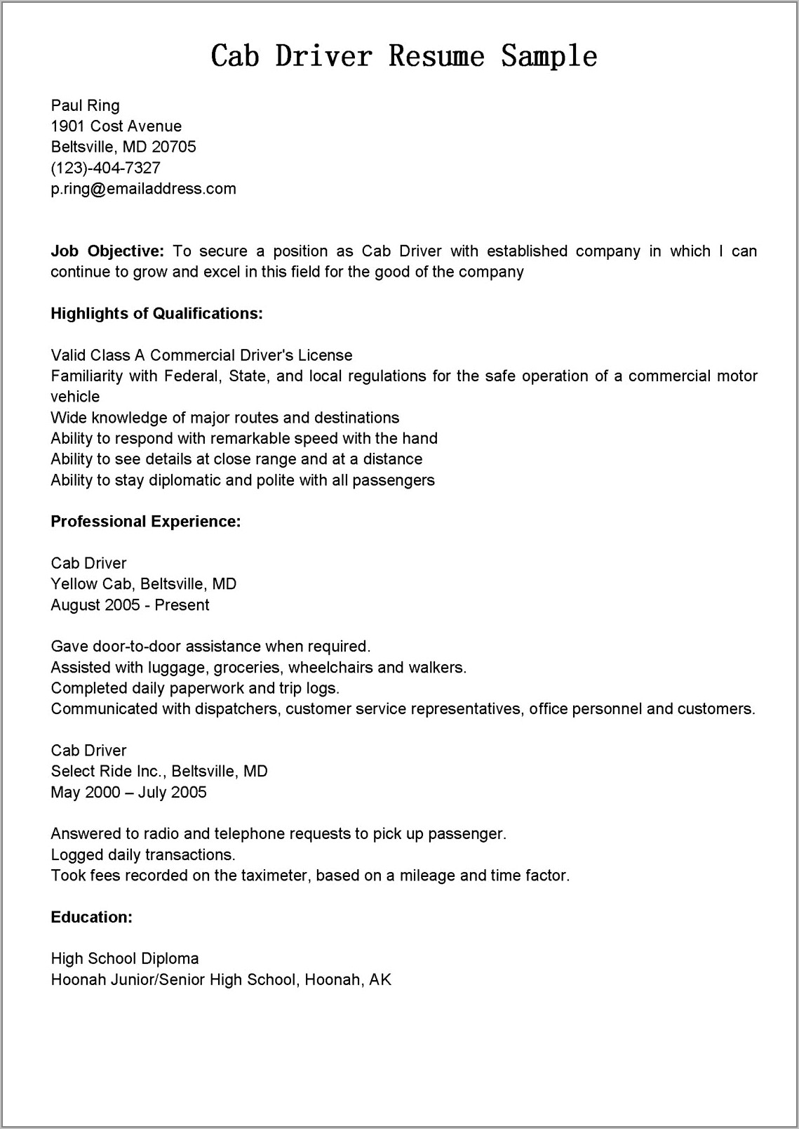 Sample Resume For Taxi Driver Position