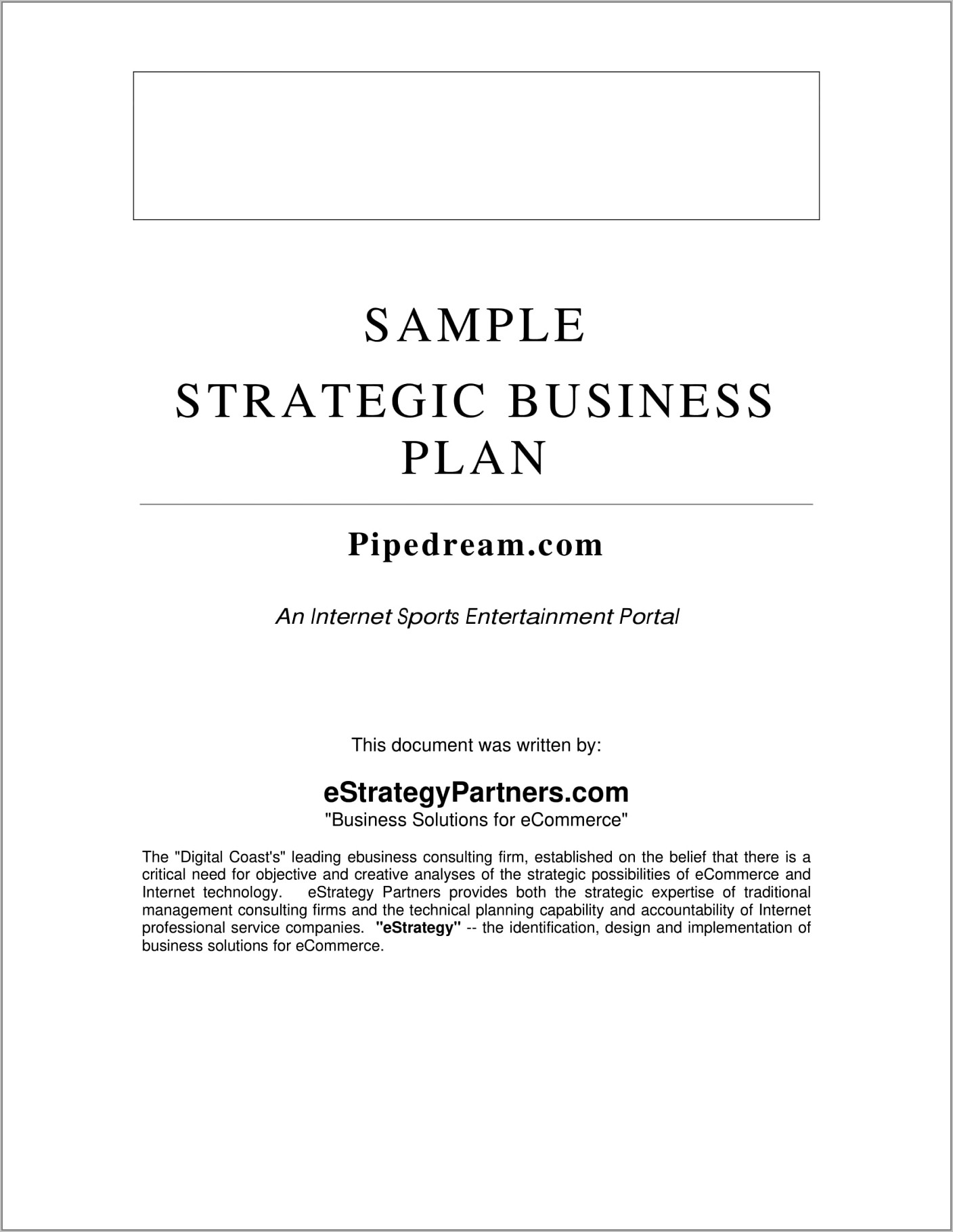 Sample Sales Strategy Business Plan
