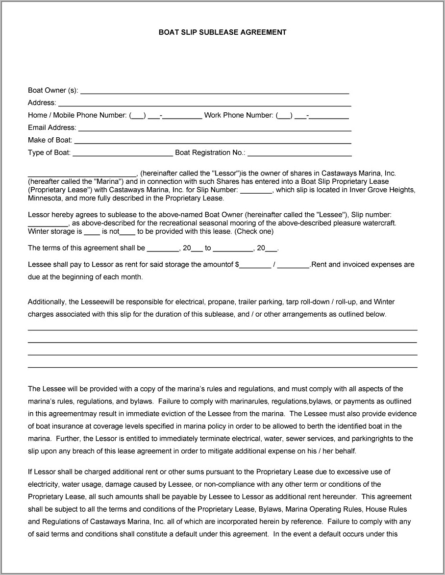 Sample Sublease Agreement Template