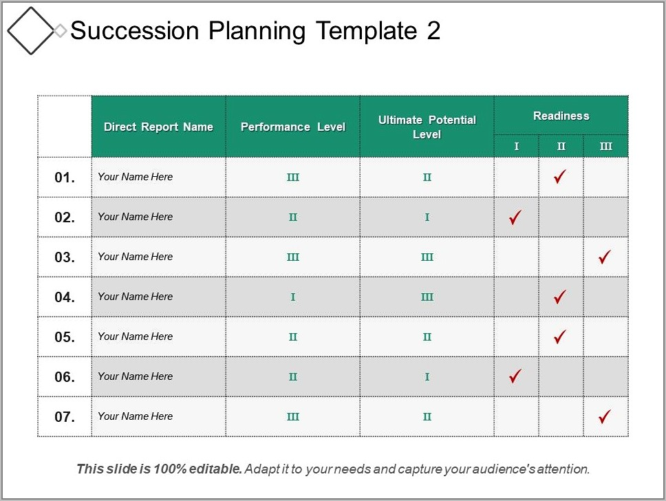 Sample Succession Planning Template