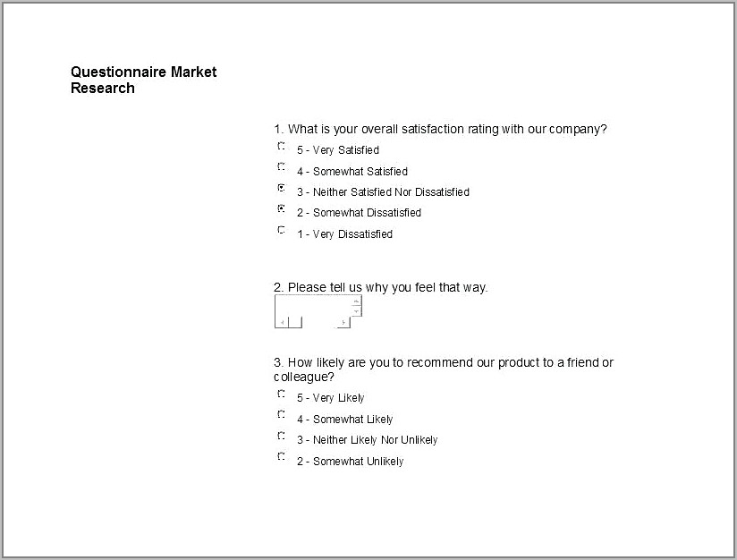 Sample Survey Questionnaire For New Product Pdf