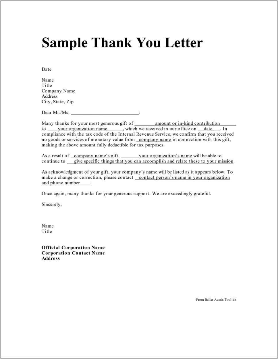 Sample Tax Deductible Donation Thank You Letter