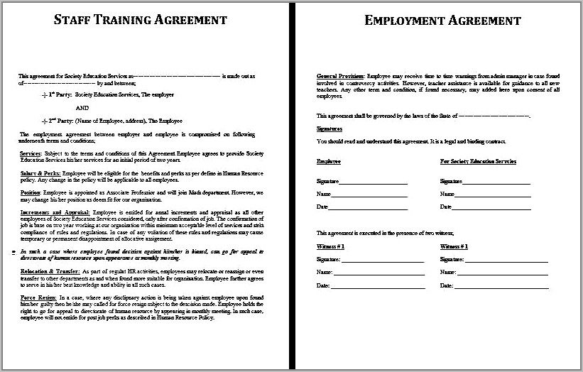 Sample Temporary Employment Contract Letter