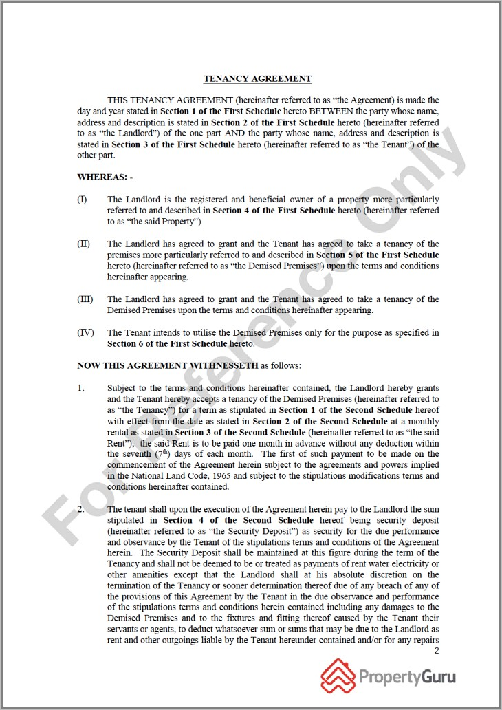 Sample Tenancy Agreement For Land In Malaysia