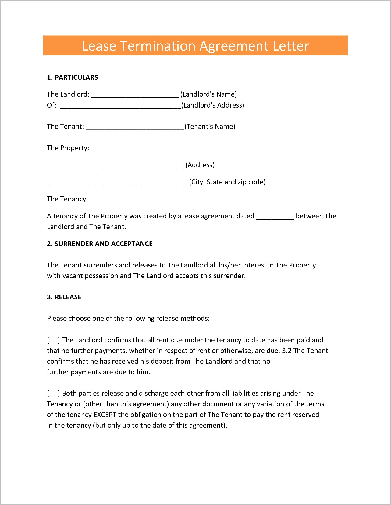 Sample Tenancy Contract Termination Letter