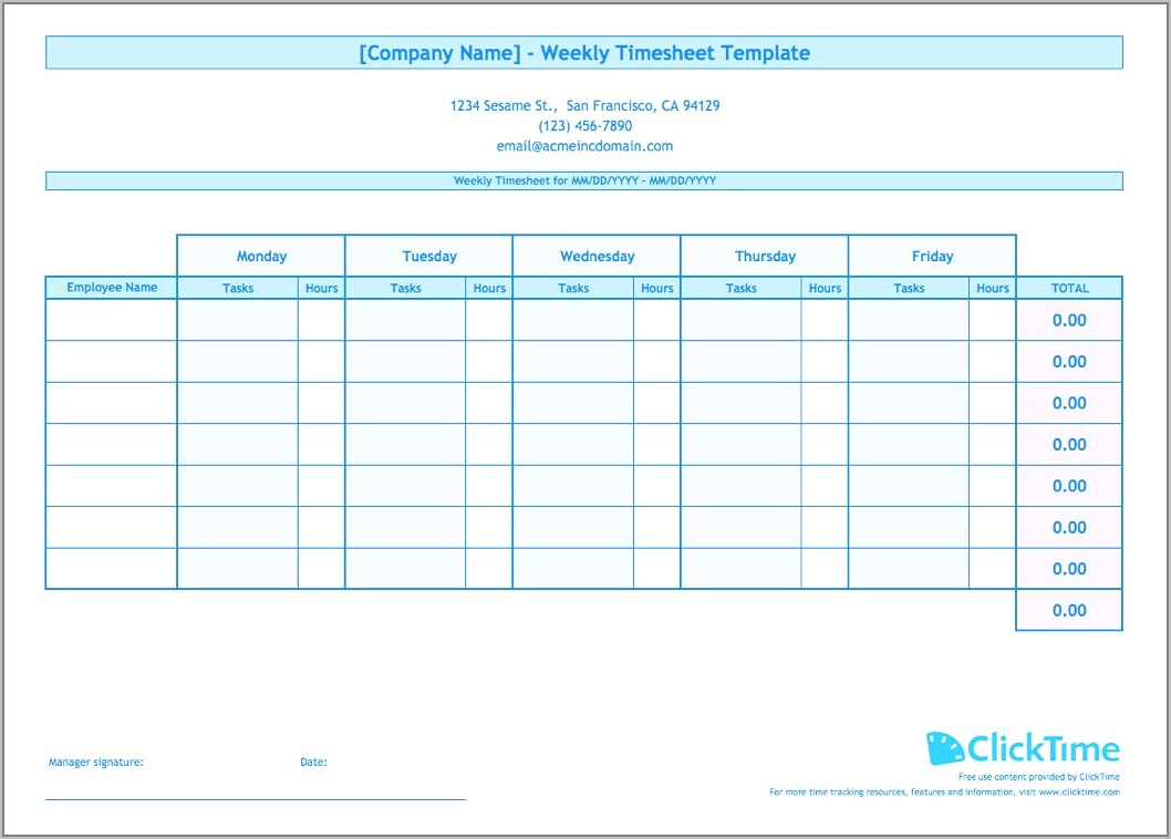 Sample Timesheets For Employees