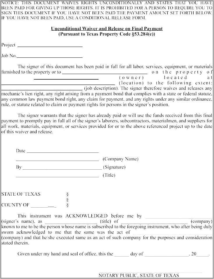 Sample Waiver Of Lien Document