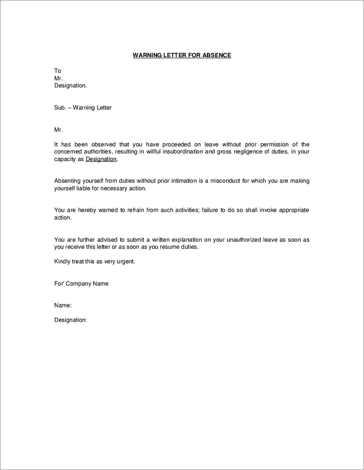 Sample Warning Letter For Absenteeism From Work
