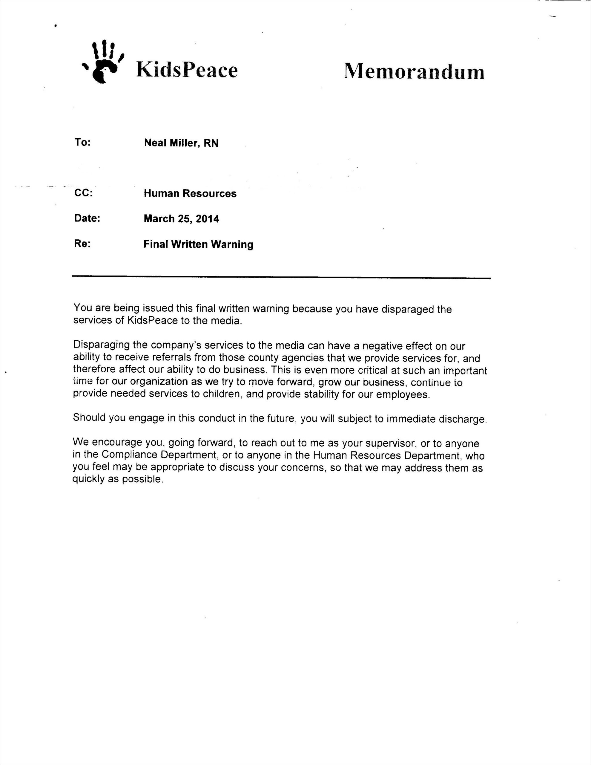 Sample Warning Letter For Absenteeism
