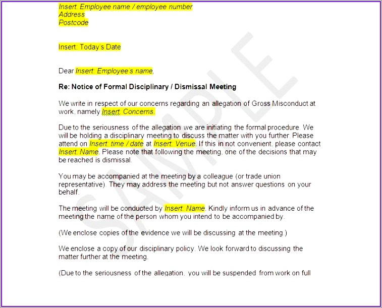 Sample Wrongful Termination Letter To Employer