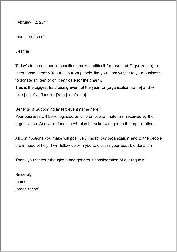 Samples Of Fundraising Request Letters