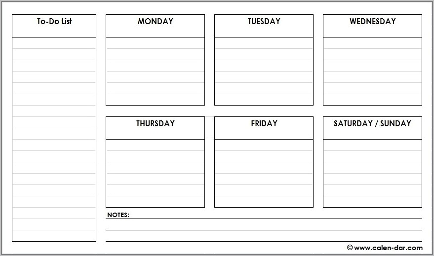 Schedule Planner Template Weekly