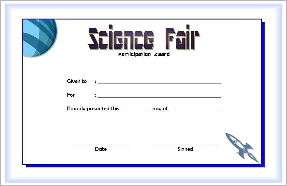 Science Achievement Award Template