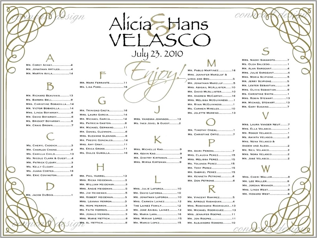 Seating List For Wedding Reception Template