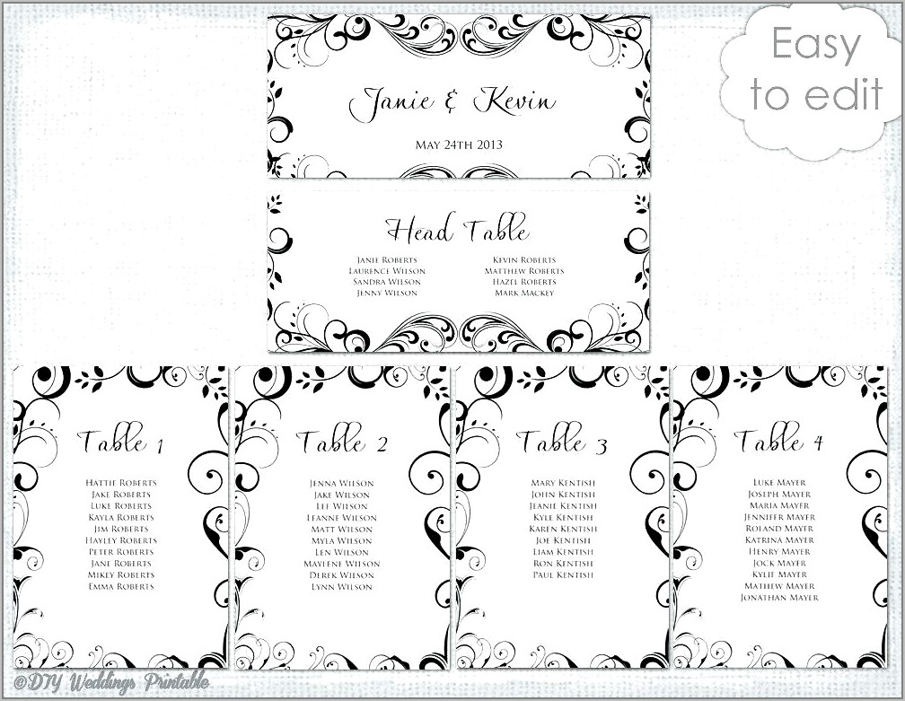 Seating Plan Template For Wedding Reception