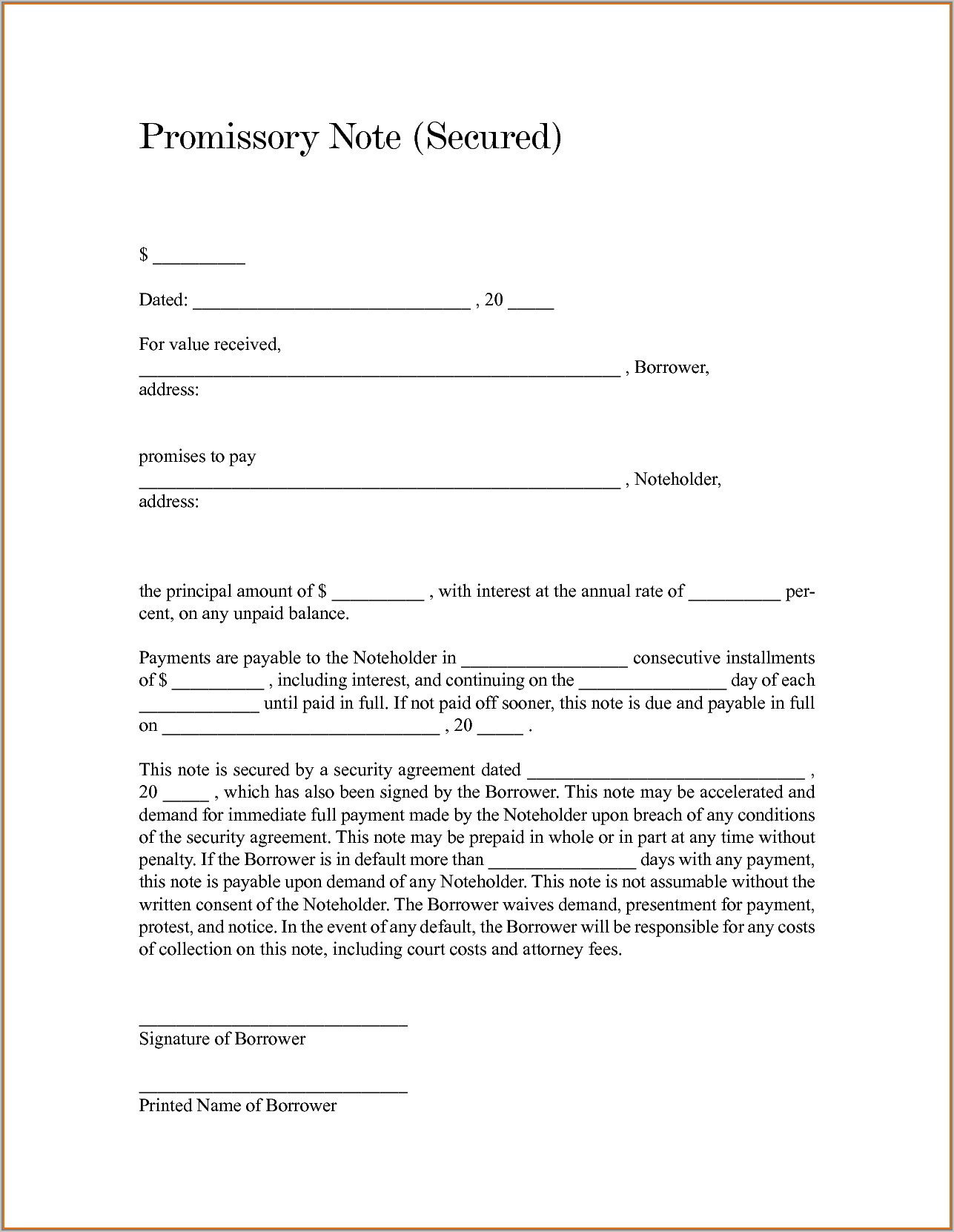 Secured Promissory Note Template Canada
