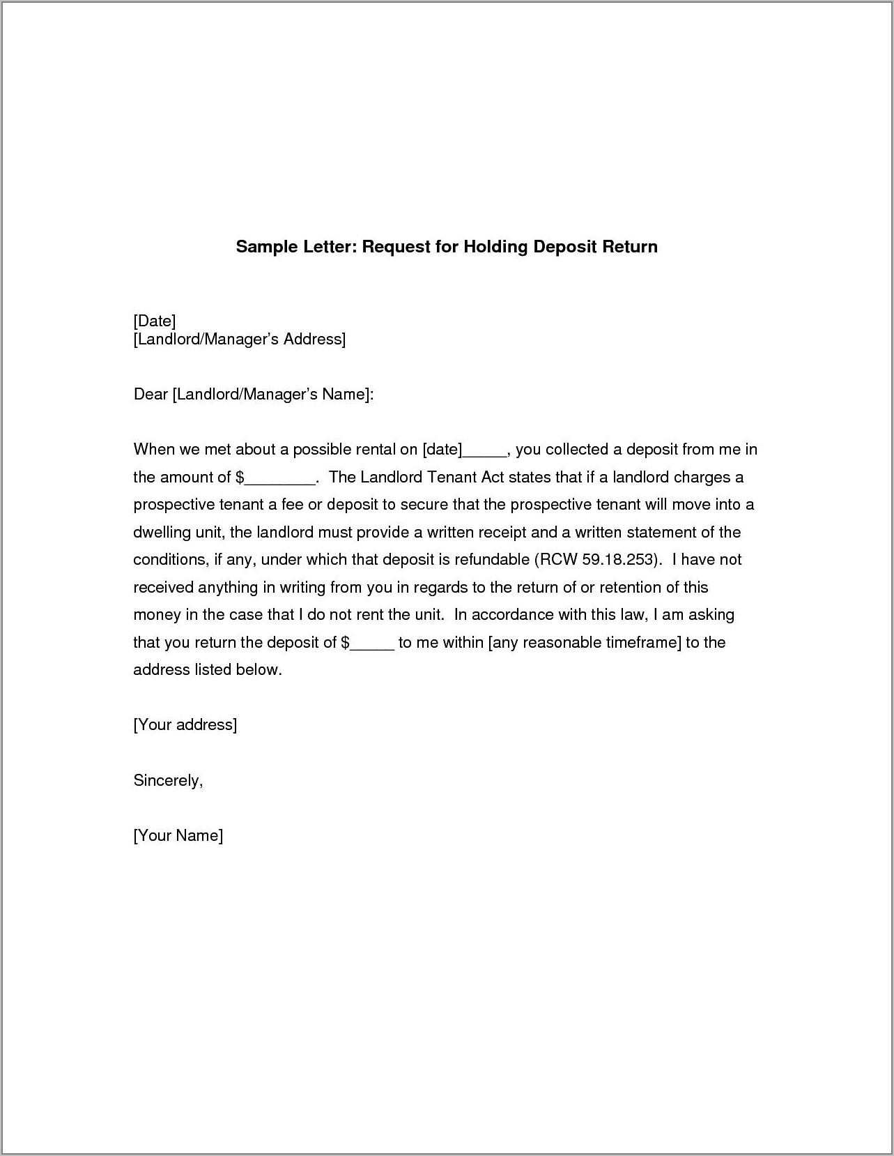 Security Deposit Refund Letter Example