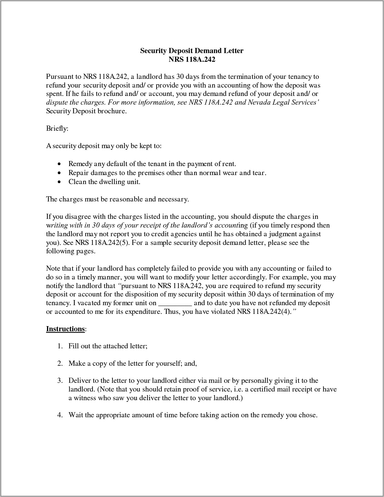 Security Deposit Refund Letter To Tenant Sample