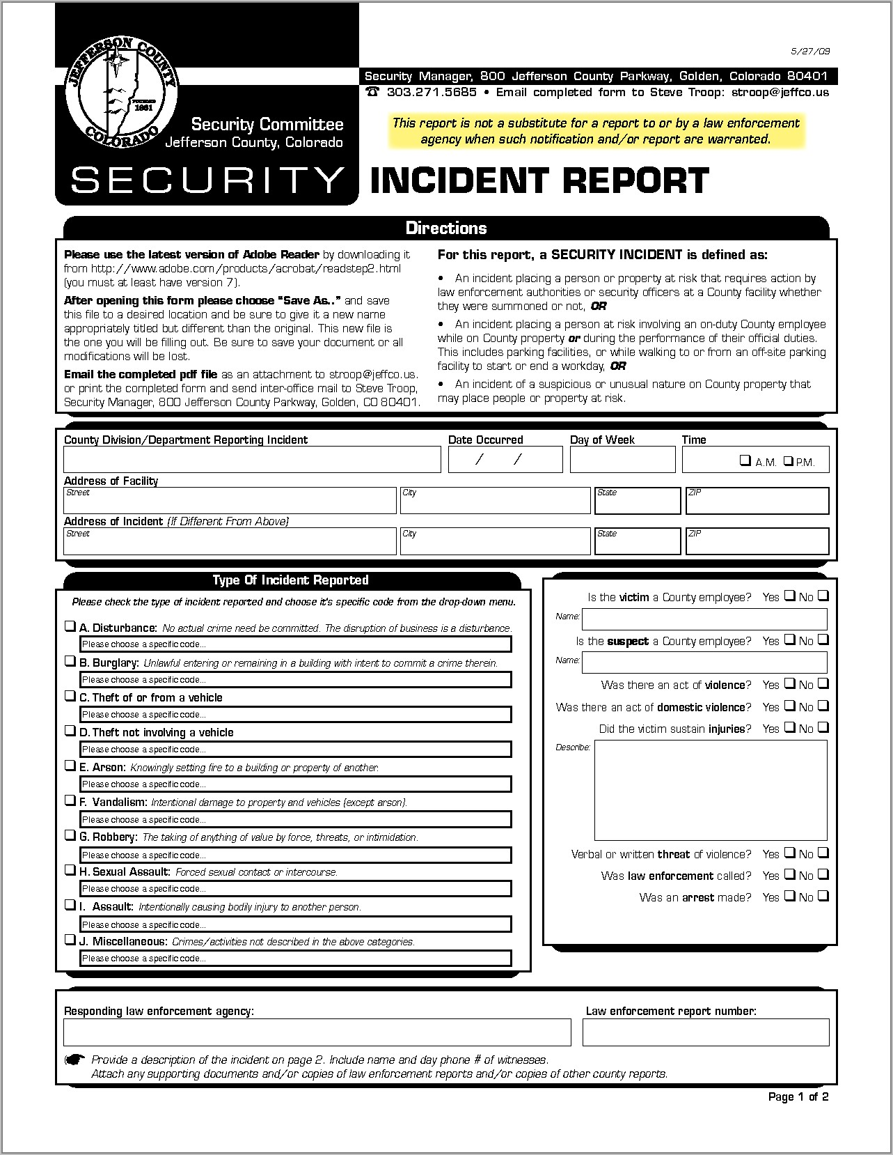 Security Incident Report Form Doc