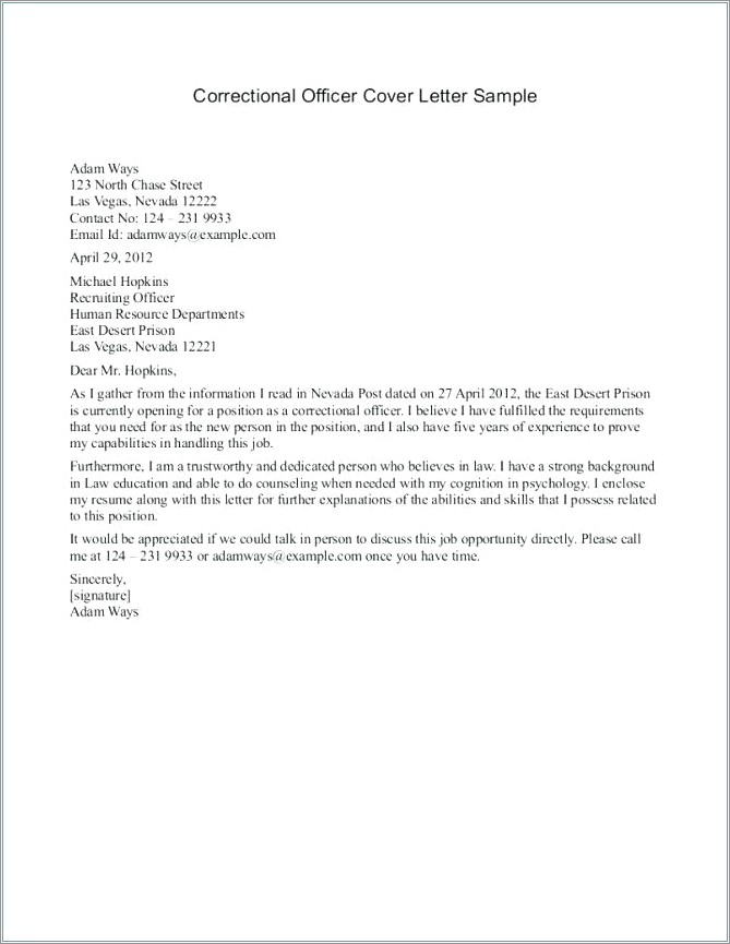 Security Officer Cover Letter Examples