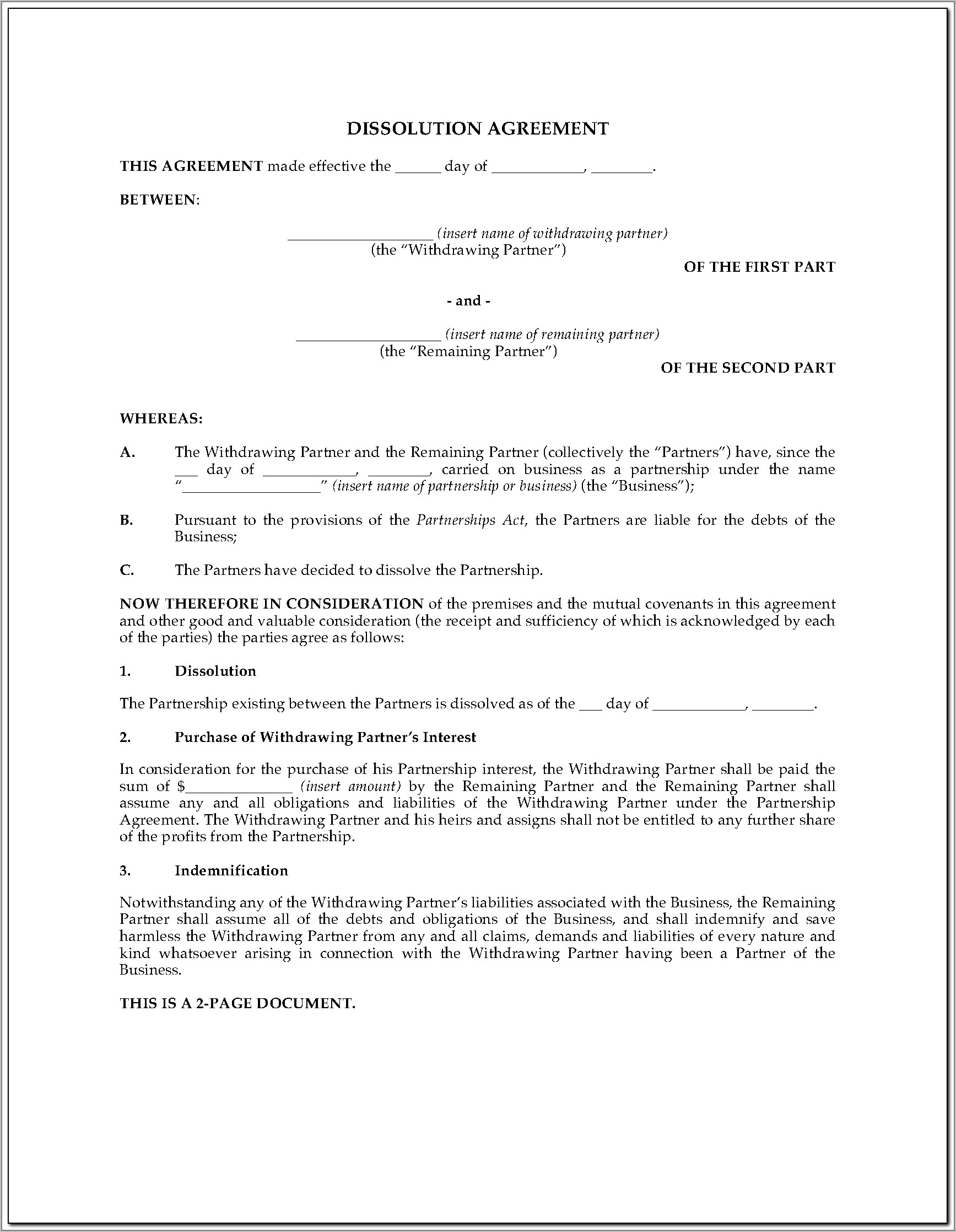 Separation Agreement Examples Ontario