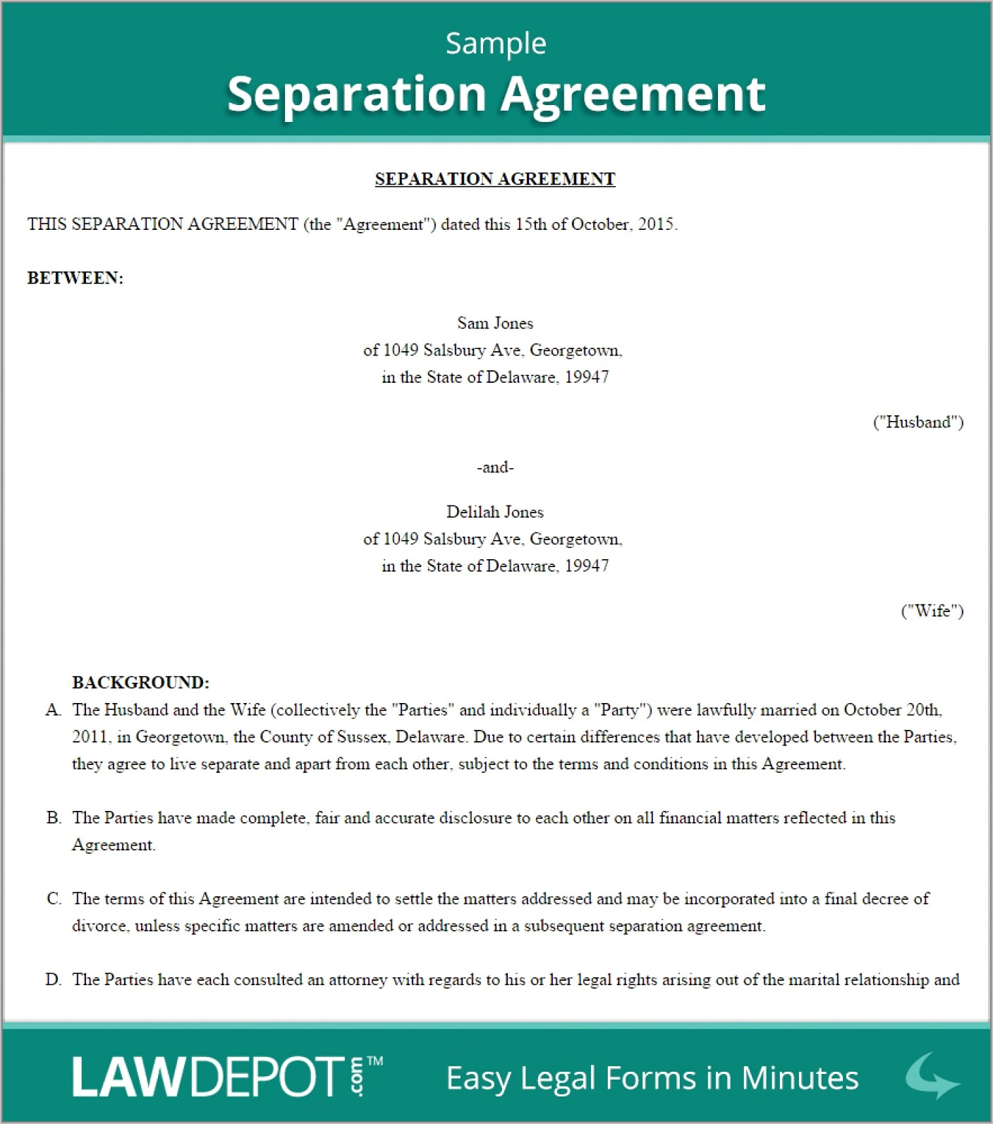 Separation Agreement Ontario Template Free