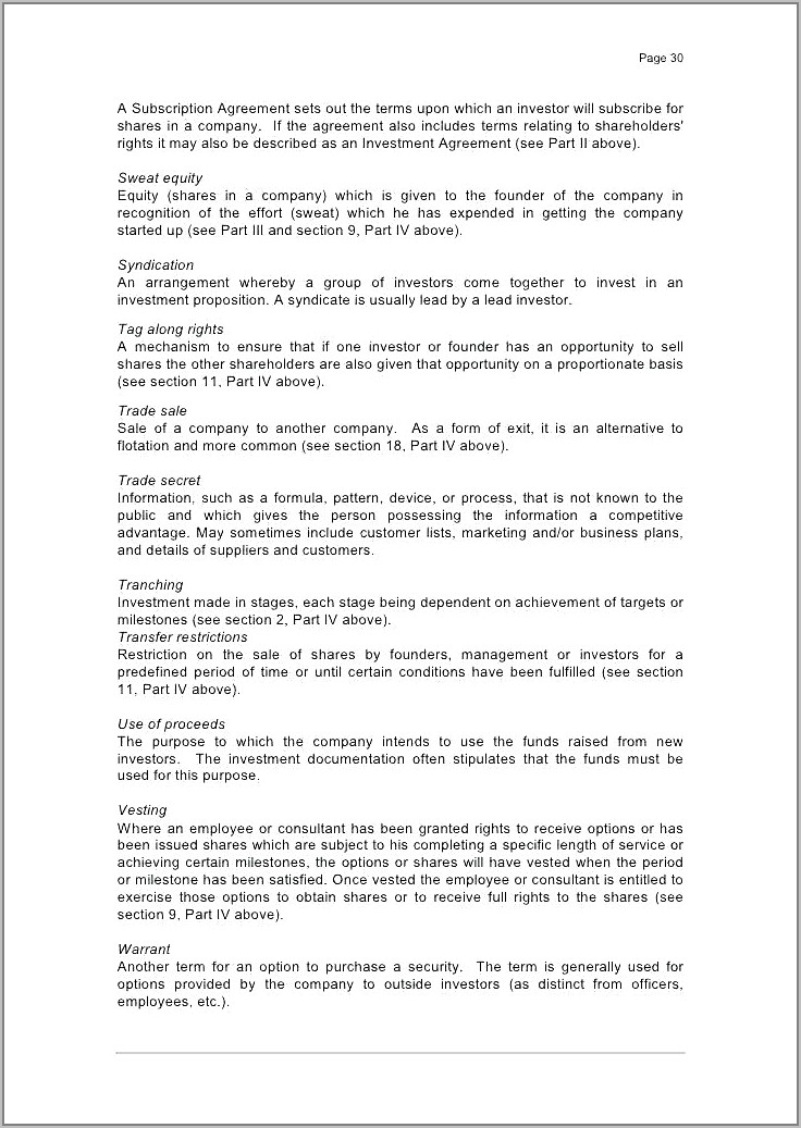 Share Subscription Agreement Template Canada