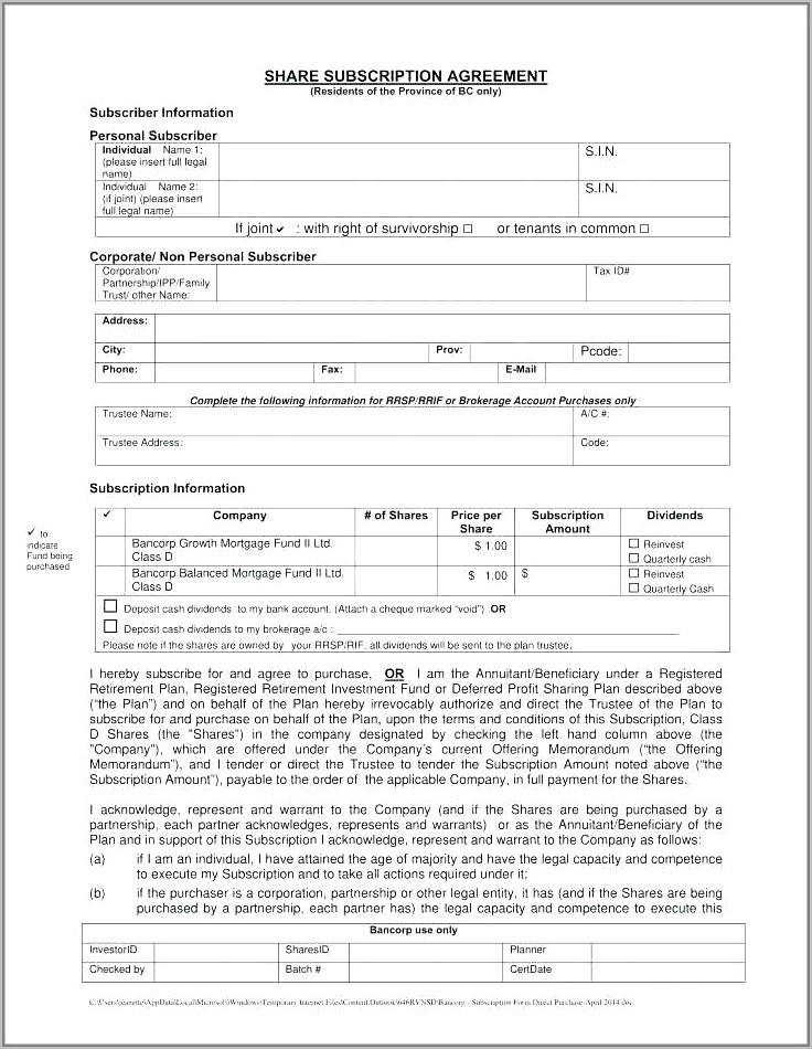Share Subscription Agreement Template South Africa