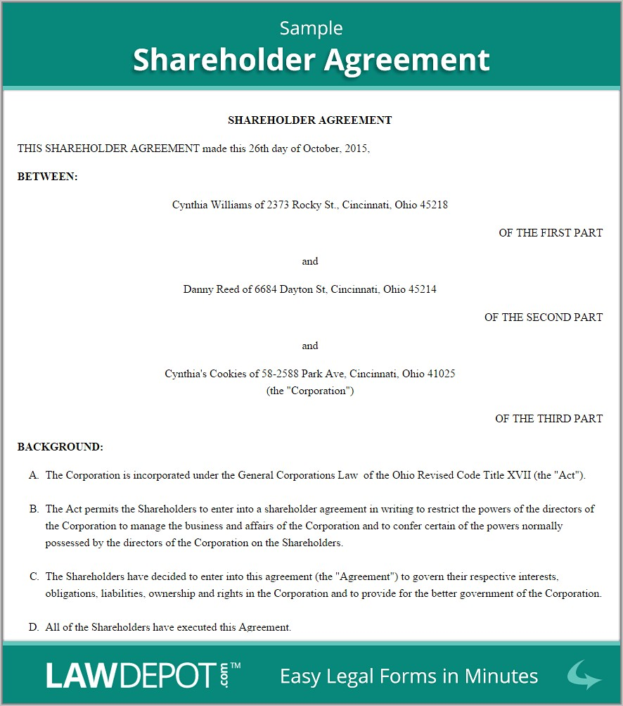 Shareholder Agreement Template Pdf