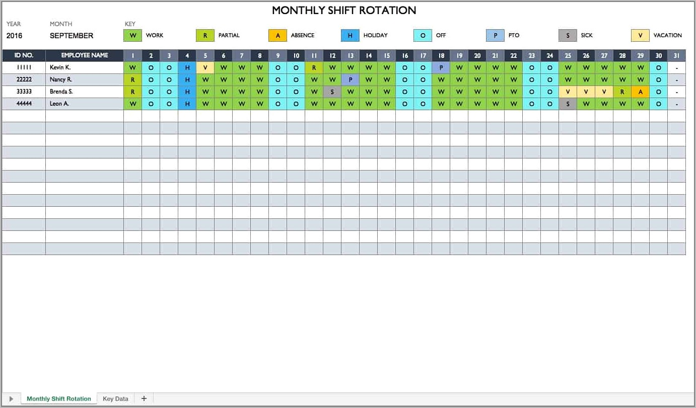 Shift Schedule Template Free